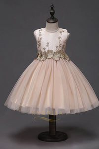 Lovely Tulle Appliques Beaded Flower Girl Dress