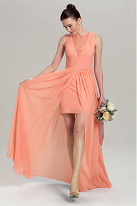 A-line Sleeveless Front Split Long Chiffon Bridesmaid Dresses