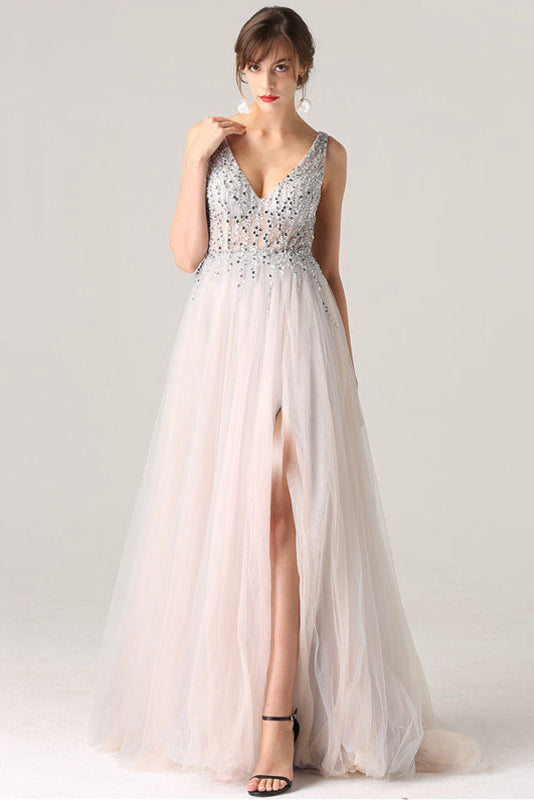 V-Neck Slit Tulle Prom Dresses with Sequins
