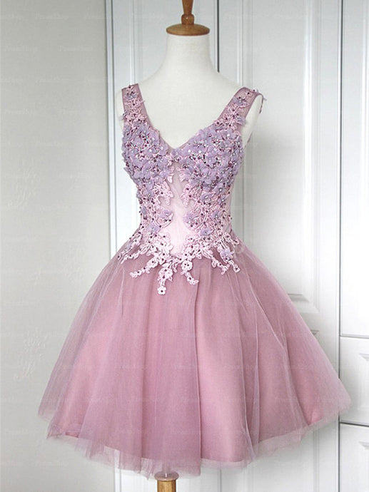 A-Line V-neck Short/Mini Tulle Prom Dresses With Back Bandage Design