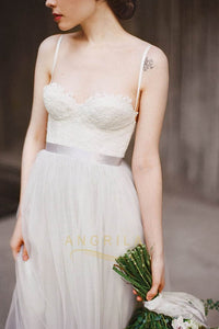 Spaghetti Straps Sweetheart Tulle Bridesmaid Dresses