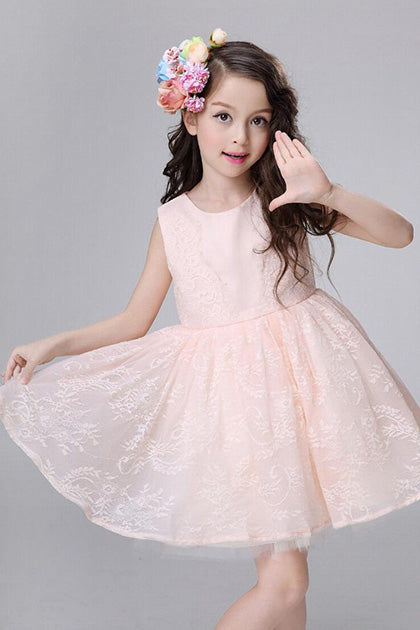A-line Knee-length Cute Lace Flower Girl Dresses