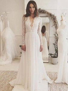 A-line Deep V-neck Full/Long Sleeves Open Back Long Lace Chiffon Wedding Dresses