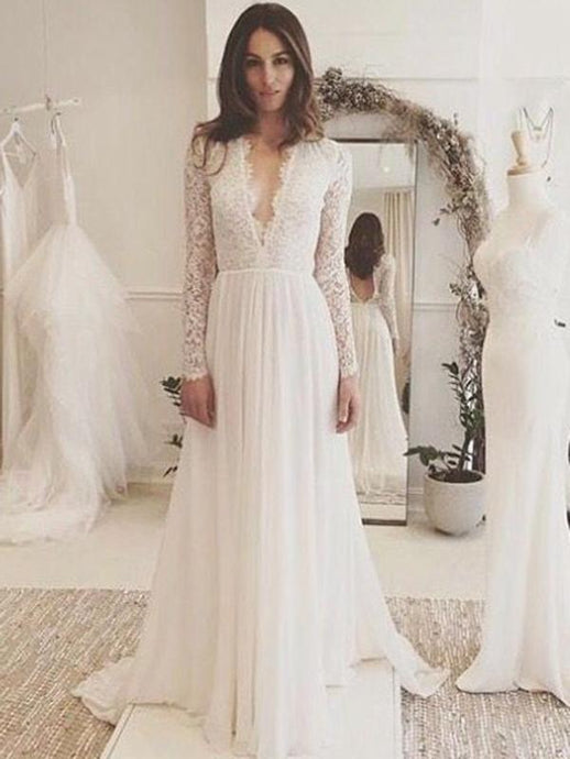 Wedding dresses bridal gowns collection discount on sale angrila a line deep v neck fulllong sleeves open back long lace chiffon junglespirit Gallery