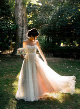 Princess Illusion Sweep Train Organza Tulle Wedding Dress With Lace