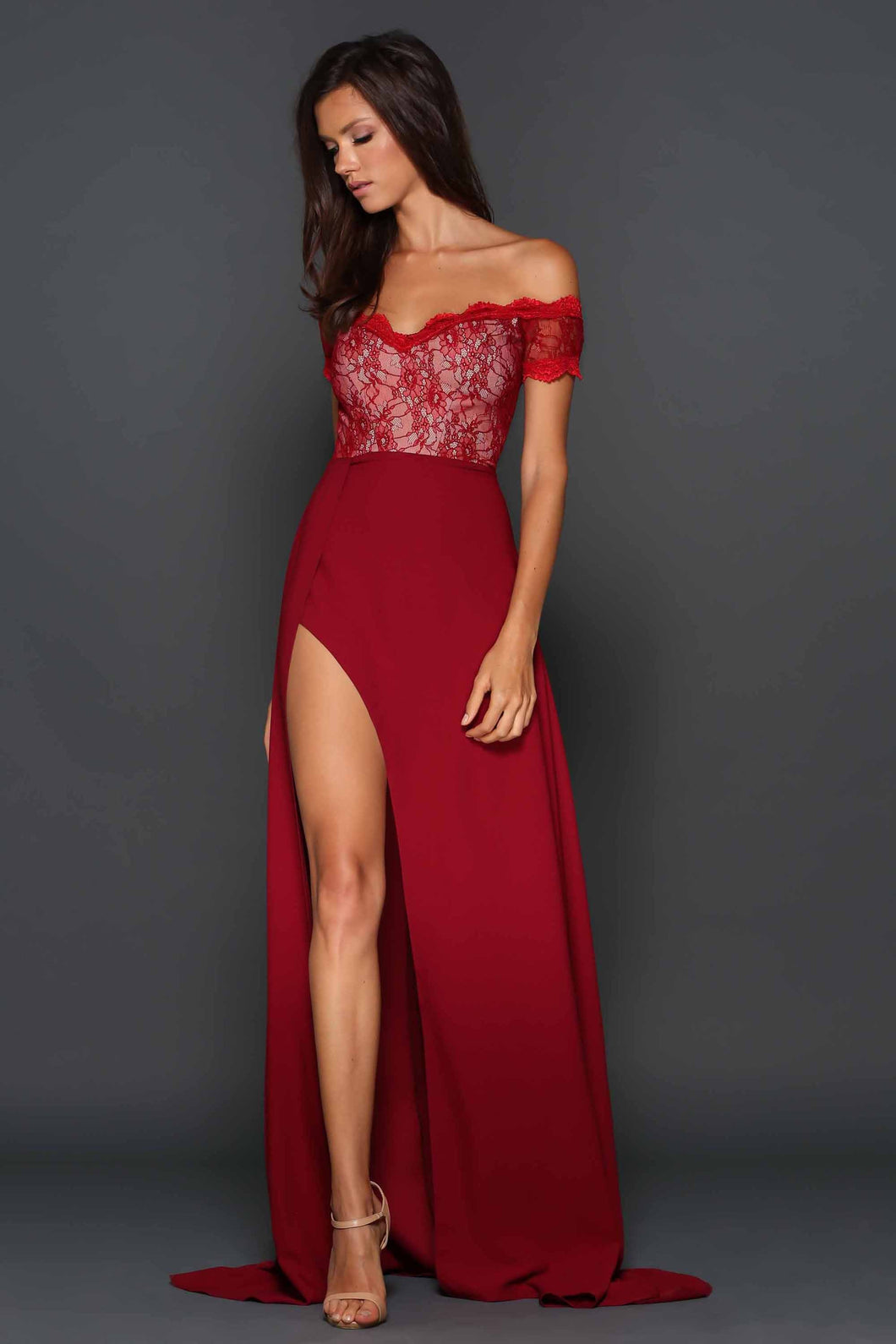 Sexy A-line Front Side Split Off-the-Shoulder Long Prom Dresses