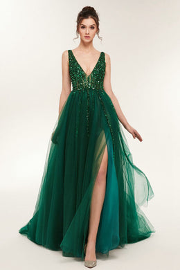 V-Neck Sequined Bodice Tulle Prom Dresses with Slit