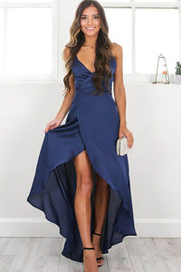 Spaghetti Straps V-neck High Low Homecoming Dresses