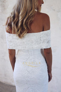 Charming Off-the-Shoulder Sheath Lace Wedding Dresses