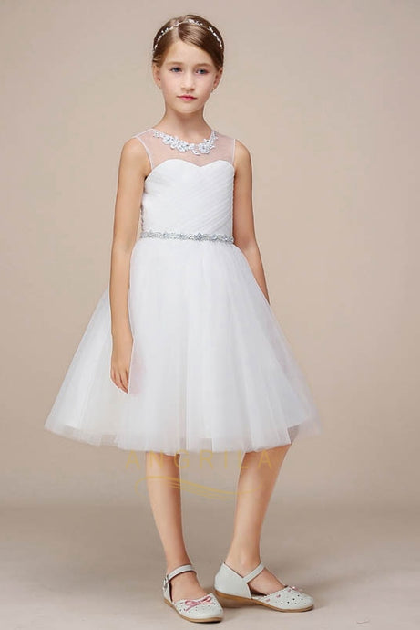 A-line Knee-length Tulle Flower Girl Dresses