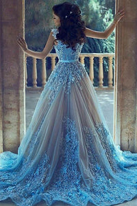 A-Line Sleeveless Court Train Blue Tulle Prom Dresses with Lace Appliques