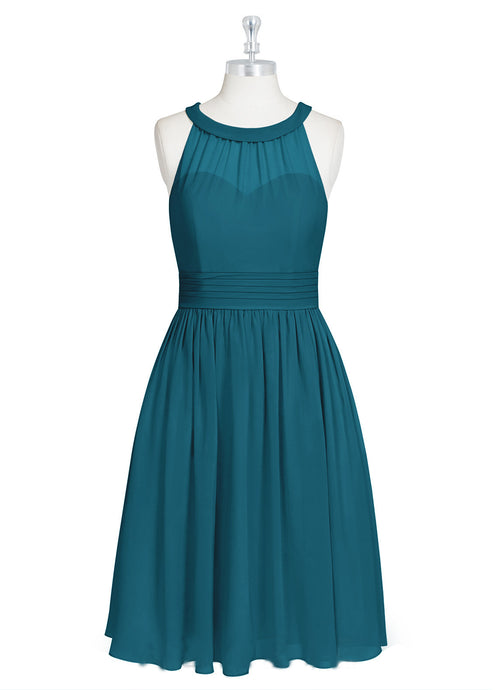 A-Line/Princess Scoop Neck Chiffon Short Bridesmaid Dress