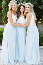 Simple V-Neck Sleeveless Chiffon A-Line Long Bridesmaid Dress
