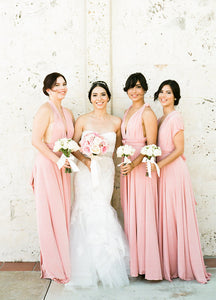 Convertible Floor-Length Chiffon Bridesmaid Dress