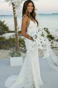 Spaghetti Straps Trumpet/Mermaid Lace Boho Wedding Dresses