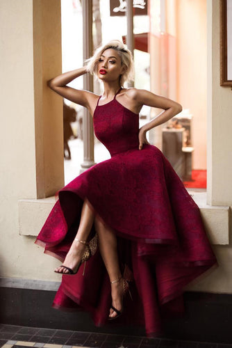 Sexy High Low Burgundy Prom Dresses with Halter Unique Elastic Satin