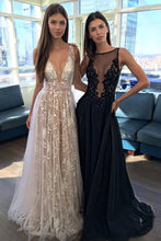 Sexy A-Line Deep V-Neck Sleeveless Open Back Long Prom Dresses