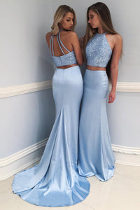 Chic Mermaid Halter Two Piece Formal Prom Dress with Beaded Crop Top