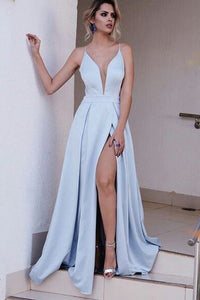 Sexy Deep V-Neck Spaghetti Straps Split Evening Dresses