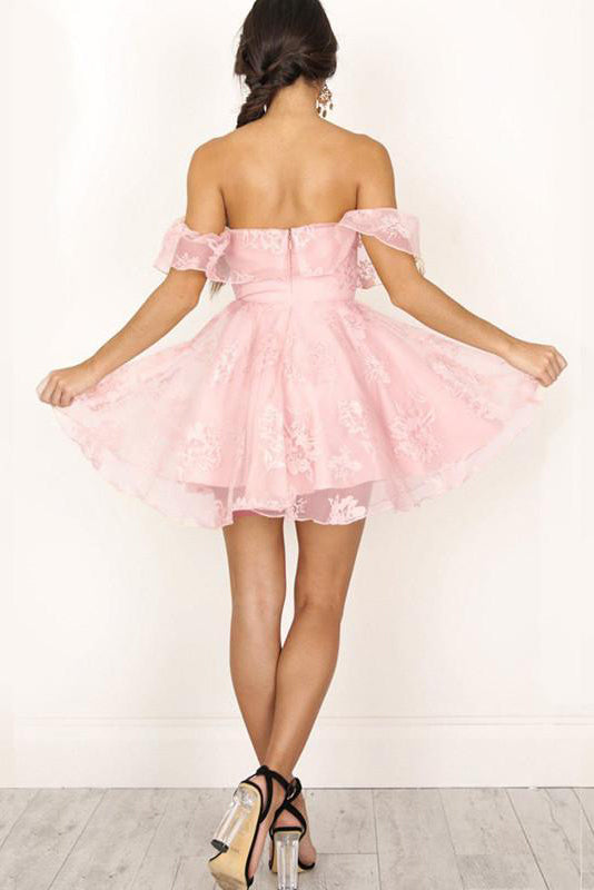 89a45d217c ... A-Line Off-the-Shoulder Short Pearl Pink Lace Homecoming Dresses ...