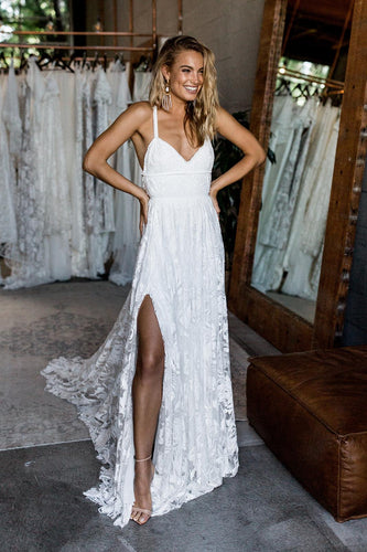Stunning A-line Spaghetti Straps Split Lace Long Beach Wedding Dresses