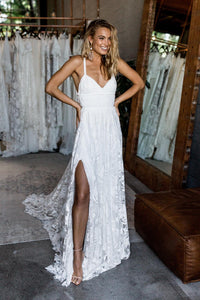 Stunning A-line Spaghetti Straps Split Lace Boho Long Beach Wedding Dresses
