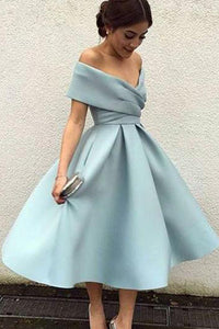Vintage A-line Cap Sleeves Satin Tea Length Prom Dress