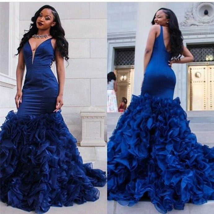 Custom Mermaid V-Neck Prom Dresses