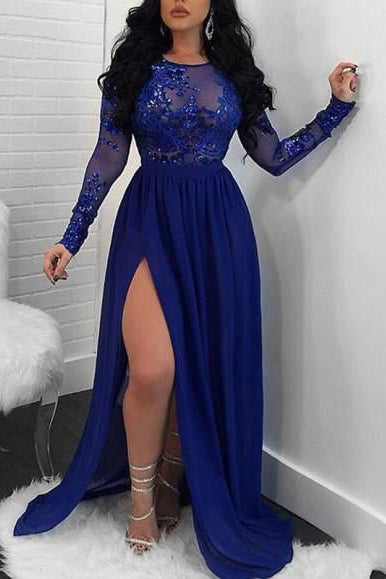 Custom Long Sleeves Prom Dresses with Slit
