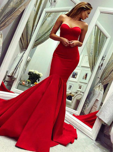 Custom Mermaid Long Red Prom Dresses