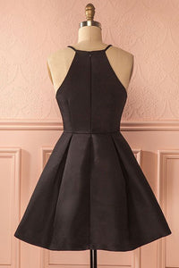 A-Line Square Neck Short Satin Homecoming Dress with Pleats
