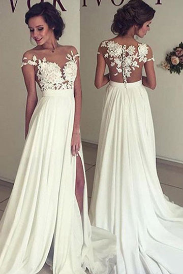 Appliqued Sweep Train Sweetheart Chiffon Wedding Dresses