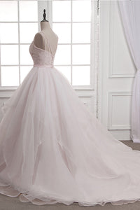 Chic Ball Gown Tulle & Organza Wedding Dresses with Beaded Embroidery & Ruffles