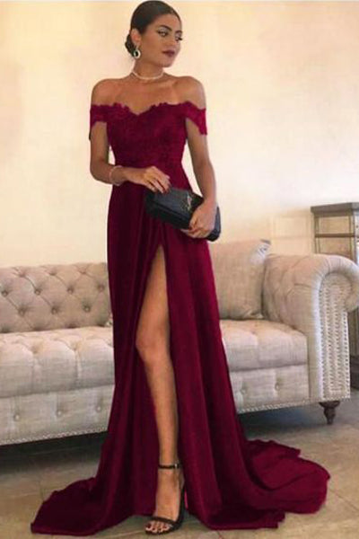 676b36a313569 ... Sexy Leg Slit Long Prom Dresses Lace Off-the-Shoulder Evening Gowns ...