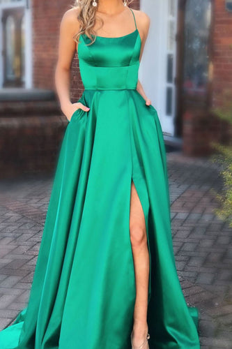 Backless Slit Long Prom Dresses with Pocket