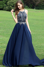 A-Line Halter Chiffon Backless Long Prom/Evening Dress with Beading