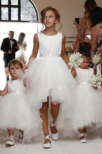 A-Line/Princess Satin Top Tulle Skirt Sleeveless Scoop Neck Tea-length Flower Girl Dress