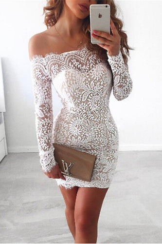 Sexy Long Sleeves Short Lace Cocktail Dresses
