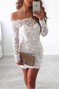 Sexy Long Sleeves Knee-Length Lace Cocktail Dresses