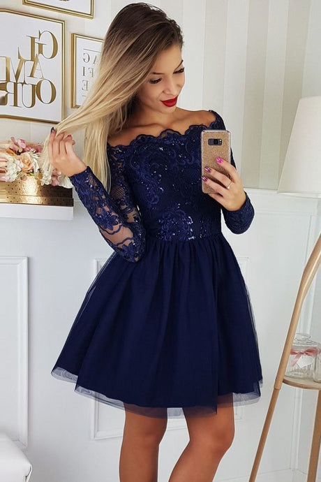 9da8db4d735 A-Line Off-the-Shoulder Long Sleeves Short Homecoming Dresses with Applique