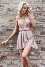 A-Line Deep V-Neck Criss-Cross Straps Short Stretch Convertible Homecoming Dresses