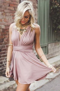 A-Line Deep V-Neck Criss-Cross Straps Short Blush Stretch Satin Homecoming Dresses