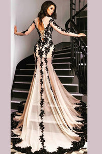 Luxury Mermaid Sheer Tulle Evening Gowns with Black Lace Appliques