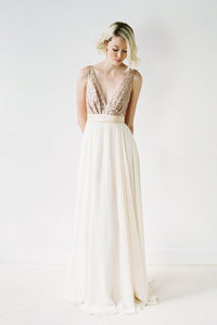 Chic Sequined Backless Wedding Dresses