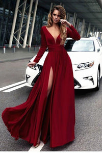 Sexy V-Neck Long Sleeves High Slit Evening Gowns