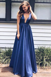 A-line Deep V-neck Taffeta Floor-length Draped Prom Dresses