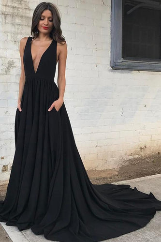 Sexy Silk-like Satin V-Neck Sweep-Train Draped Evening Gowns