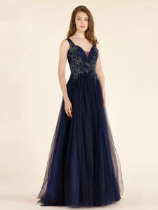 Sleeveless A-line V-neck Tulle Floor Length Mother of the Bride Dresses