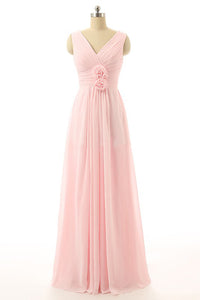 V-Neck Chiffon with Flower(s) Bridesmaid Dresses