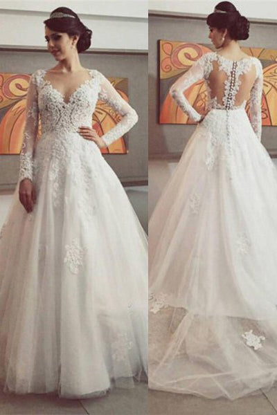 V-Neck Lace Wedding Dress with Sleeves